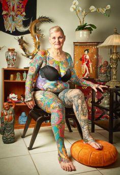Briton Isobel Varley, 69, the world's eldest tattooed ...