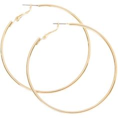 60MM Smooth Gold Hoop Earrings ($5.39) ❤ liked on Polyvore featuring jewelry, earrings, accessories, yellow gold jewelry, gold earrings jewelry, gold jewellery, hoop earrings and earring jewelry