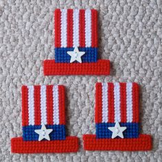 Plastic Canvas Uncle Sam Hats Magnets set of by ReadySetSewbyEvie, $4.50