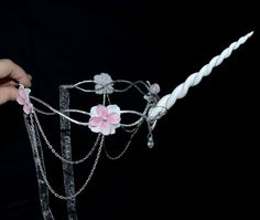 White unicorn crown  cosplay  headpiece by Frecklesfairychest, $60.00                                                                                                                                                                                 More