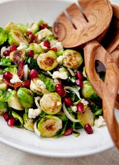 sauteed bacon and blue cheese brussel spouts with pomegranate
