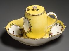 1752-1753 French Mustard pot and stand at the Metropolitan Museum of Art, New York - Mustard was used as a condiment, particularly for meat, in the 18th century.  It seemed to be prevalent in English and French cuisines, as much as these tend to be contrasted with each other in this time period.
