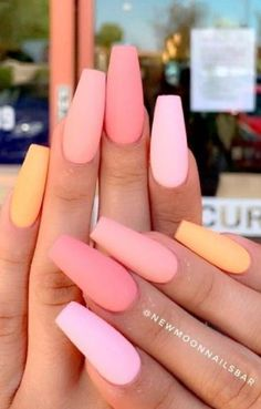 Nails Yellow, Matte Pink Nails, Polygel Nails, Coffin Nails Matte, Peach Nails, Best Acrylic Nails, Swag Nails, Glitter Nails, Acrylic Nails For Summer Coffin