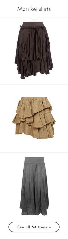 """Mori kei skirts"" by heidruna ❤ liked on Polyvore featuring skirts, bottoms, women, flouncy skirt, frill skirt, flounce skirt, frilly skirt, ruffle skirt, mini skirts and saias"