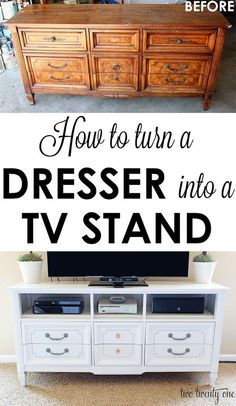 new ideas furniture makeover ideas dresser entertainment center # furniture - entertainment center ideas diy Tv Stand Upcycle, Diy Tv Stand, Tv Stand Makeover, Dresser Tv Stand, Dresser With Tv, Turn A Dresser Into A Tv Stand, Tall Dresser, Furniture Makeover, Home Furniture