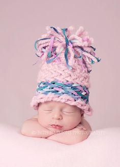 Infant photography hat chunky thick yarn with by AprilsYarnables