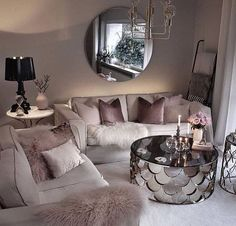 Cozy Living Room For Your Home - Living Room Design Glam Living Room, Living Room Decor Cozy, Living Room Goals, Living Room Lighting, Bedroom Decor, Feminine Living Rooms, Modern Living, Living Room Drapes, Paint Colors For Living Room