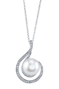 Sterling Silver 10mm Melody Freshwater Pearl CZ Necklace