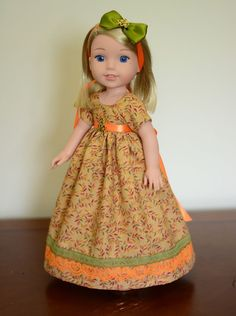 """""""Autumn Leaves"""" Regency Dress, Outfit, Clothes for American Girl Wellie Wishers…"""