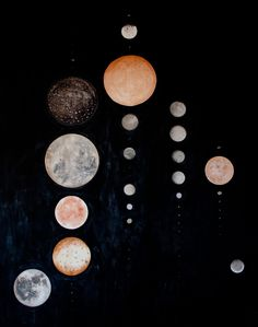 "Painting by Stella Maria Baer -- she says, ""all the moons of our solar system, to scale, in order of closeness to the sun"""