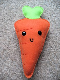 Cute Happy Carrot Felt Food Plushie by morganbookscrafts on Etsy, $14.00