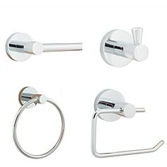 Add a contemporary shine to your bathroom with this bathroom hardware set. Easily organize your towels, wash cloths and other bathroom necessities with this easy to install hardware set. Durable yet attract Small Bathroom Storage, Bathroom Sets, Modern Bathroom, Bathrooms, Bathroom Showers, Bathroom Organization, Master Bathroom, Bad Set, Bath Fixtures