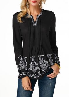 Rosewe Women Blouse Black Long Sleeve V Neck Printed Crinkle Chest Long Sleeve Split Neck Blouse Stylish Tops For Girls, Trendy Tops For Women, Blouses For Women, Long Sleeve Tunic, Black Blouse, Casual Tops, Casual Outfits, Fashion Outfits, Ideias Fashion