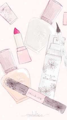Watercolor Make-Up Girly Pink iPhone Lock Screen Wallpaper @PanPins
