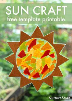 Sunshine sun catcher easy solstice craft - with free sun template printable - NurtureStore Toddler Art, Toddler Crafts, Crafts For Kids, Children Crafts, Sun Crafts, Summer Crafts, Sun Template, Sun Catchers, Sun Catcher Craft