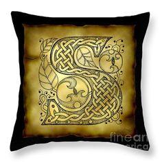 Celtic Letter S Monogram Throw Pillow by Kristen Fox