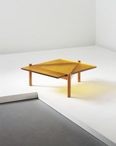 Charlotte Perriand; #10 Unique Ash and Colored Glass Coffee Table for the Pierre Debeaux Residence. Designed in 1938. Executed in 1967.
