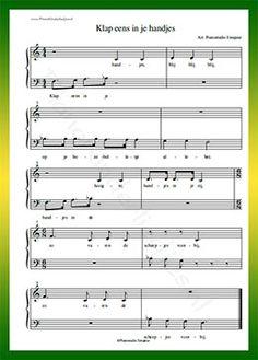 Klap eens in je handjes - Gratis bladmuziek van kinderliedjes in eenvoudige zetting voor piano. Piano leren spelen met bekende liedjes.