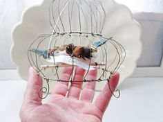 Delicate Wedding Cake Topper Charming Bird Cage Sculpture