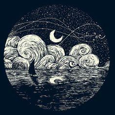 Starry Night with reflection delight. Art Inspo, Kunst Inspo, Geometric Tatto, Posca Art, Art Et Illustration, Art Design, Oeuvre D'art, Painting & Drawing, Moon Drawing