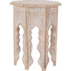 Large Wooden Octagonal Side Table