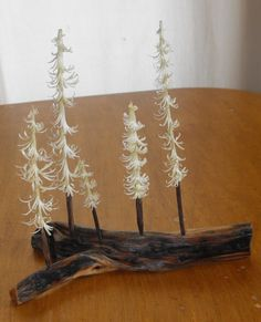 Five carved pine trees 0201 by JJLadellsWoodcarving on Etsy, $69.75