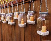 Hanging Mason Jar Garden Lights - DIY Lids Set of 6 Mason Jar Lantern Hangers or Flower Vase Hangers - Silver Chain