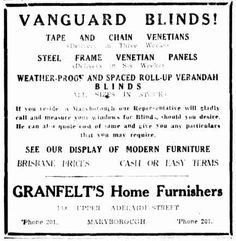 Vanguard Blinds Advertisement - The Courier Mail (Brisbane) 1946 Brisbane, Blinds, Advertising, Advice, History, Historia, Tips, Shades Blinds, Blind