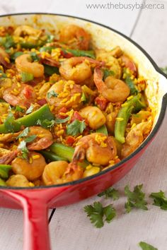 Chicken and Shrimp Paella - The Busy Baker