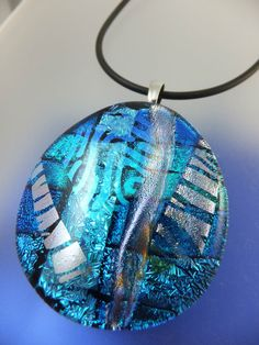 BLUE & SILVER OVAL in CHARISMA DESIGN - Handmade Dichroic Glass Pendant & Cord by Cheryl Smith