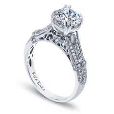 Kirk Kara handcrafted XO diamond split shank engagement ring from the Kirk Kara XO collection crafted with 0.19 carats of diamonds
