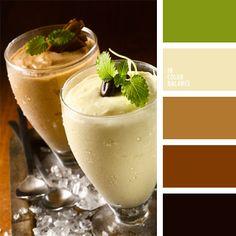 color café, color café con leche, color canela, color capuchino, color grano de café, color verde manzana, combinaciones de colores, elección del color, marrón, matices cálidos del marrón, selección de colores para el diseño, verde.