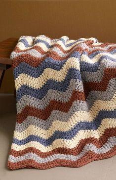 Smoky Mountain Ripple Afghan (Crochet) free pattern - Uses Hometown USA Yarn