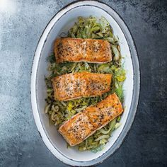 Serve this baked salmon with leeks with roasted or mashed potatoes for a complete meal. The recipe can easily be increased to serve additional guests.