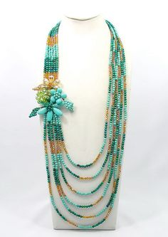 bridesmaid gift,Bead Necklace,turquoise necklace,Beaded Jewelry, flower Necklace With Turquoise Quartz Crystal Glass Beads