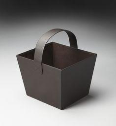 Lido Black Leather Magazine Basket