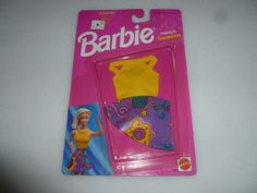 NEW ON CARD BARBIE FASHION FAVORITES YELLOW CROP TOP SKIRT 783B SET 1993 MATTEL #Mattel