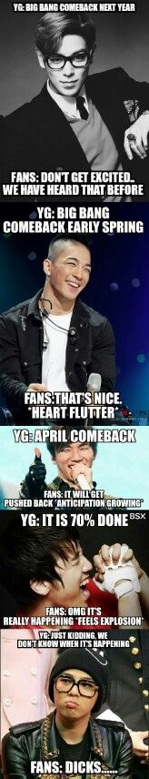YG Family... Trolling Fans since 1996. I WANT THE BIG BANG COMEBACK!!! #TOPDramaFever