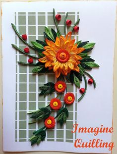 Imagine Quilling: A Card With Orange Flowers