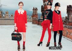 Dauphine Mckee, Elisabeth Erm and Marine Deleeuw for Moschino by Rossella Jardini, photographed by Juergen Teller, Fall/Winter 2013