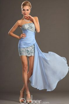 This blue cocktail dress designed with two tone of blue shades, it is bodycone with mini length, straight across bodice is exquisite with lace on the sheer net, while pleated chiffon wrapped the waist and hip giving allure and subtle airy look for the slim figure flattering.