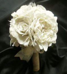 Burlap Rose and Peony Bouquet in White or Natural,  Bridesmaid Bouquets, Rustic Wedding