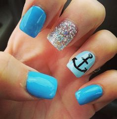 Blue and Sliver Glitter with Black Anchor Nail Art Design