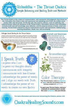 Vishuddha or Throat Chakra balancing, with crystals, gemstones, aromatherapy, color therapy, sound and affirmations. For more information and resources, visit our webpage.
