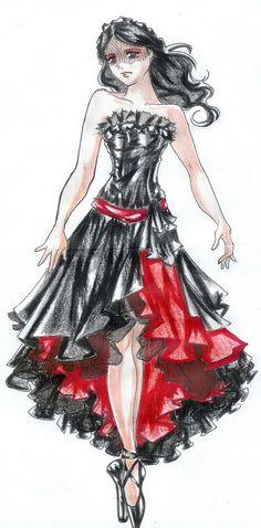 fashion sketches, dress fashion, red dress