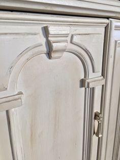Retro Cabinet in Annie Sloan Country Grey chalk paint with clear and dark wax!