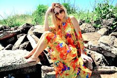 eye catching silk floral print cover-up open shoulders