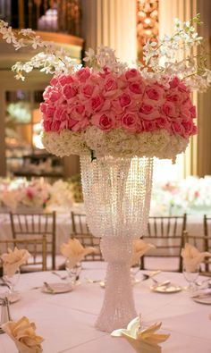 Featured Photographer: Michael Segal Photography; pink wedding centerpiece idea