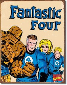 Drawing Marvel Comics fantastic four tin sign - Vintage Fantastic Four Sign is a brand new vintage tin sign made to look vintage, old, antique, retro. Purchase your vintage tin sign from the Vintage Sign Shack and save. Marvel Dc, Marvel Comics, Marvel Heroes, Jack Kirby, Stan Lee, Comic Book Characters, Comic Character, Comic Books Art, Comic Art