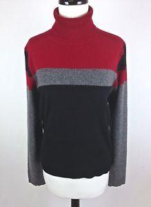 Valerie Stevens Sweater Cashmere Knit Red Black Color Block Turtleneck Tunic L | eBay